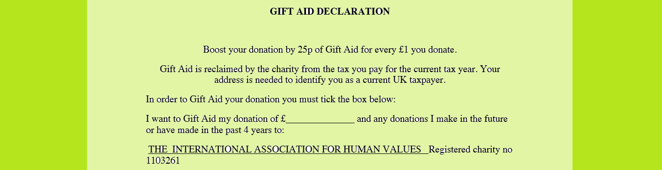 Gift aid form international association for human values iahv gift aid form negle Images
