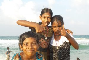 Girls from VOH having fun on the beach close to home.